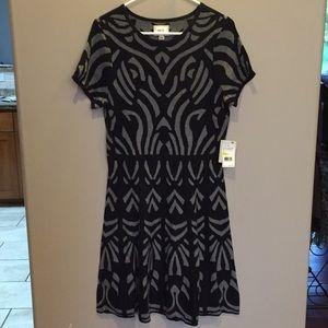 ECI NWT Sz M gray and black sweater dress